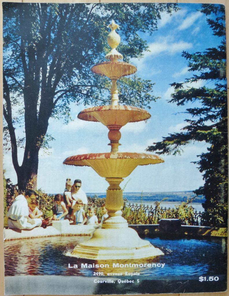 Endos d'une brochure à propos de la Maison Montmorency publiée en 1960 par les Pères Dominicains, qui étaient alors propriétaires de la résidence et du domaine.