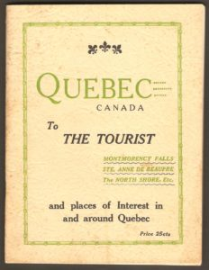 Brochure touristique Quebec Canada to the Tourist. Montmorency Falls, Ste. Anne de Beaupre, The North Shore, Etc. and places of Interest in and around Quebec. Elle a été publiée en 1932 par le garage Frontenac.