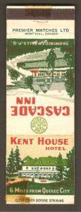 Carton d'allumettes faisant la promotion de l'hôtel Kent House, à Courville, près de la chute Montmorency.