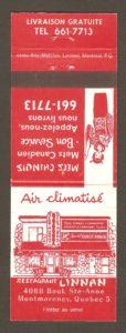 Carton d'allumettes faisant la promotion du restaurant Linnan, à Montmorency.