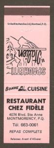 Carton d'allumettes faisant la promotion du restaurant Chez Fidèle, à Montmorency.