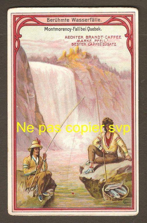 Belle carte de collection distribuée dans les emballages de café Aechrer, vraisemblablement vers 1920-1930. On y voit deux hommes, dont un Amérindien, qui pêchent au pied de la chute Montmorency.