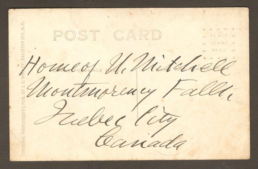 Endos de carte postale. Pont de bois construit en 1857 pour enjamber la rivière Montmorency, à quelque distance en amont du haut de la chute.