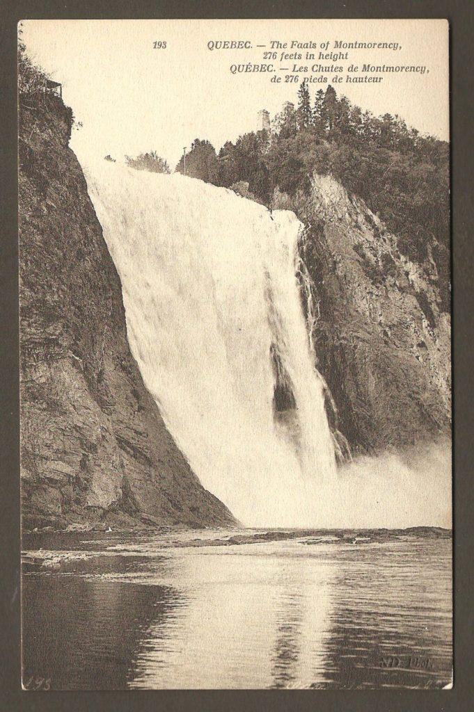Carte postale Neurdein ND 193: Québec - Les Chutes de Montmorency, de 276 pieds de hauteur. Vue verticale.
