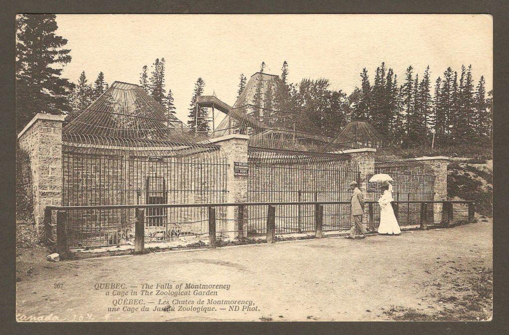 Carte postale Neurdein ND 207: Québec - Les Chutes de Montmorency, une Cage du Jardin Zoologique. Un couple chic de visiteurs, devant trois des cages du zoo Holt Renfrew. En arrière-plan, on peut voir la structure de la glissade d'hiver.