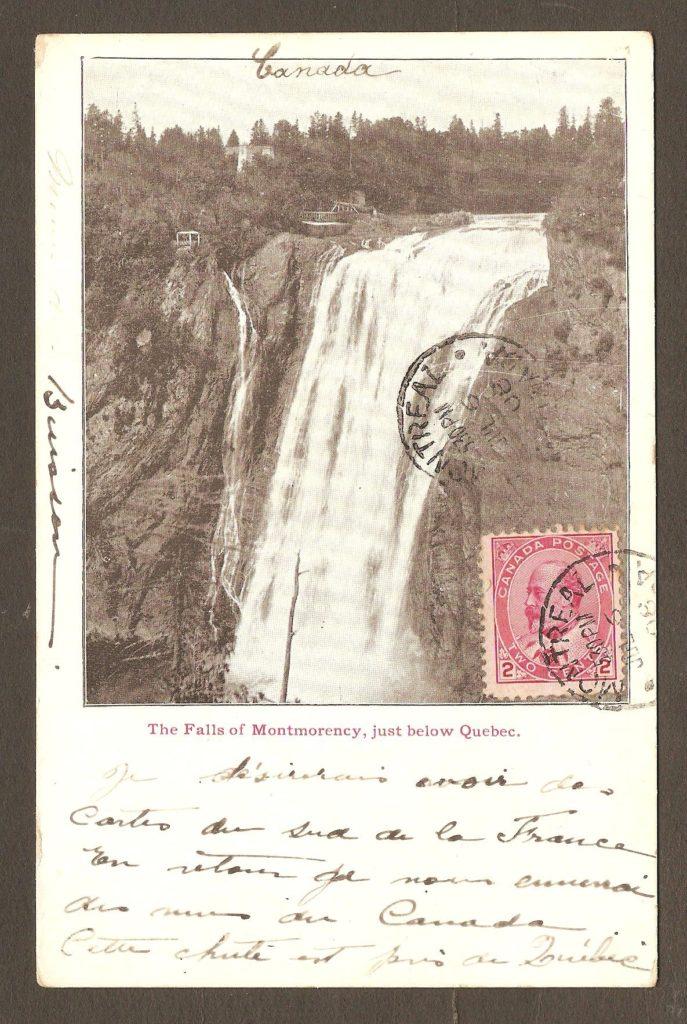 Chute Montmorency: Photo de Notman sur autre carte à dos non divisée, postée de Montréal le 6 juillet 1908.
