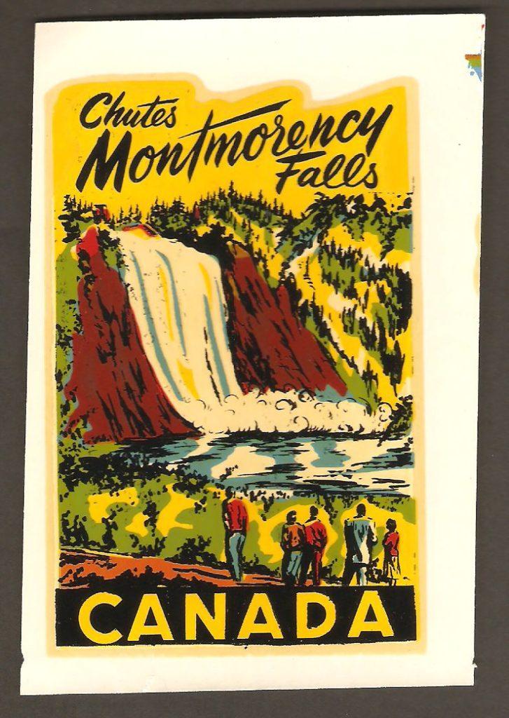 Décalque coloré de la chute Montmorency, à transférer sur du verre transparent, et datant probablement des années 1940 ou 1950.
