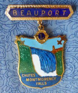 Une épinglette du Club Lions de la ville de Beauport (maintenant fusionnée à Québec), probablement fabriquée autour de 1990.