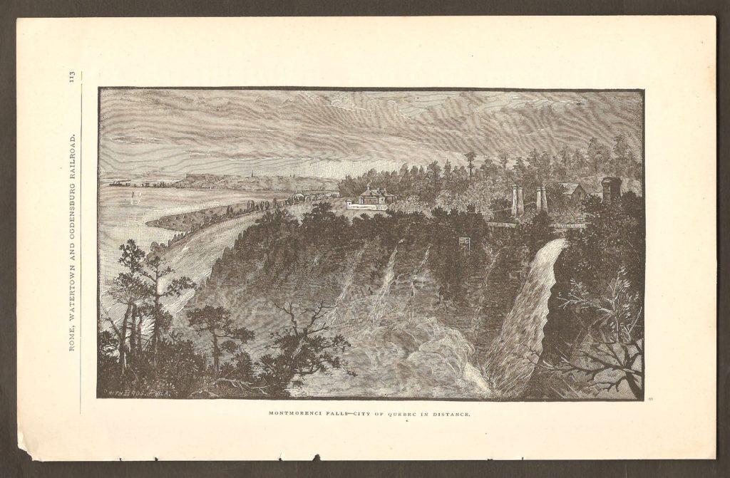 Gravure tirée d'une publication datant probablement de la fin des années 1850 et montrant la chute vue de l'est, avec Beauport et Québec au loin.