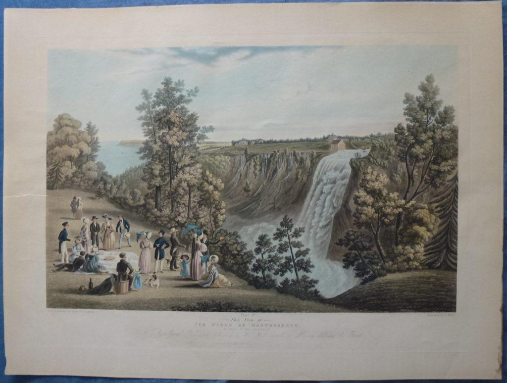 Pique-nique à la chute chute Montmorency. Une magnifique gravure datant de 1833: The Falls of of Montmorency, (Quebec in Distance) par C. Hunt, d'après un desssin de James Patterson Cockburn.