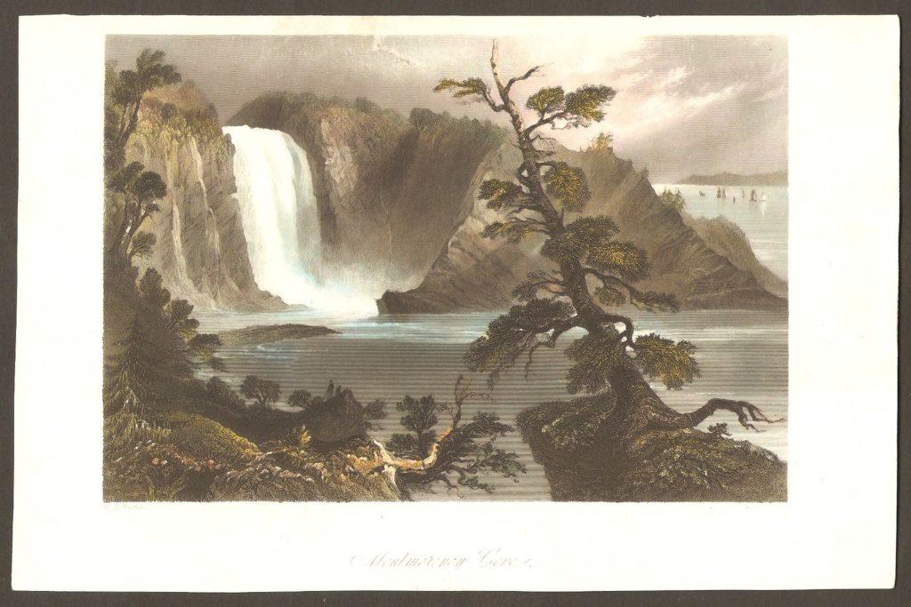 Une autre magnifique gravure en couleurs de W. H. Bartlett, réalisée au cours des années 1840. Elle montre l'anse s'étendant au pied de la chute. Par ailleurs, on remarque, en haut à droite, plusieurs voiliers voguant, à quelque distance, sur le fleuve Saint-Laurent.