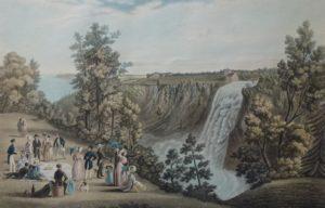 Pique-nique à la chute Montmorency. Gravure datant de 1833: The Falls of of Montmorency, (Quebec in Distance) par C. Hunt, d'après un desssin de James Cockburn.