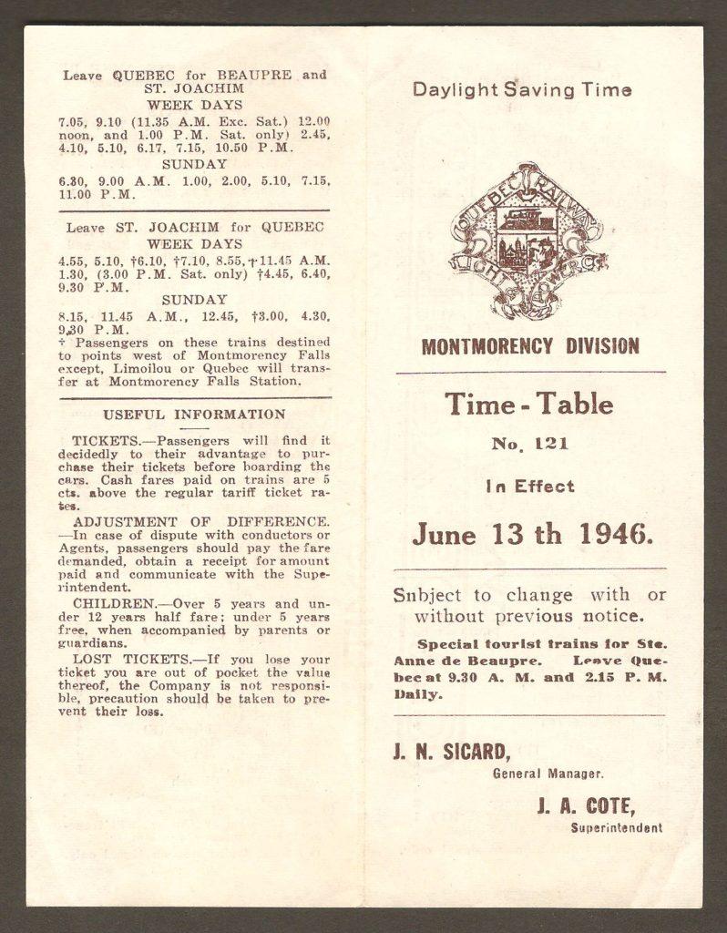 Un horaire des tramways de la division Montmorency de la Quebec Railway, Light & Power Company. Il porte le numéro 121 et est entré en vigueur le 13 juin 1946. Il est seulement en anglais.