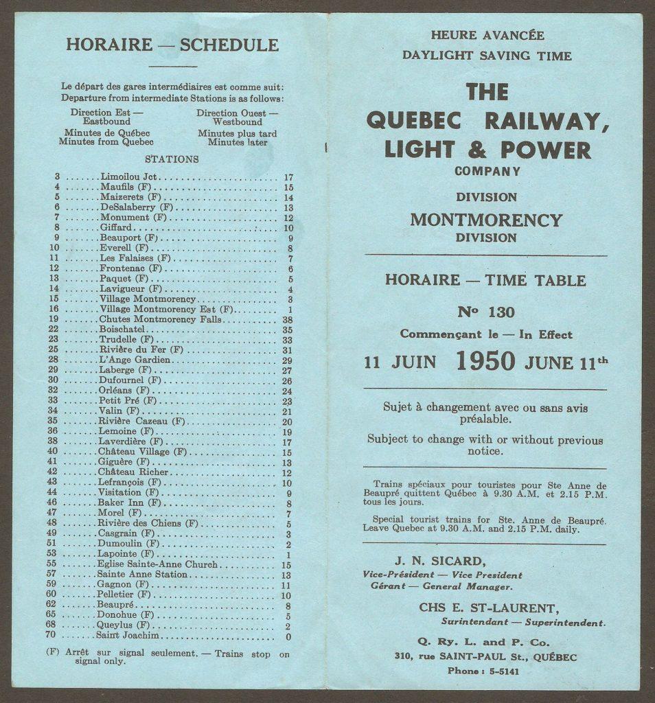 Un horaire des tramways de la division Montmorency de la Quebec Railway, Light & Power Company. Il porte le numéro 130 et est entré en vigueur le 11 juin 1950.