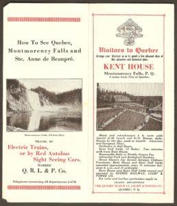 Petit dépliant publicitaire de la Quebec Railway Light & Power Co. datant du début des années 1920