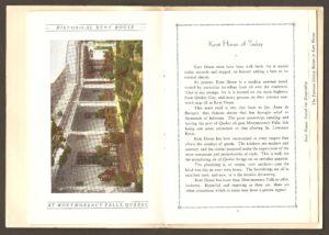 Chute Montmorency : une brochure publicitaire de l'hôtel Kent House, en 1929.