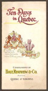 Brochure publicitaire de la compagnie Holt Renfrew, publiée vers 1910