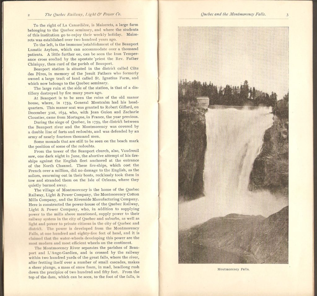 Brochure publicitaire Montmorency Falls and St. Anne de Beaupré, de la Quebec Railway Light & Power Co'y, publiée distribuée vers 1891