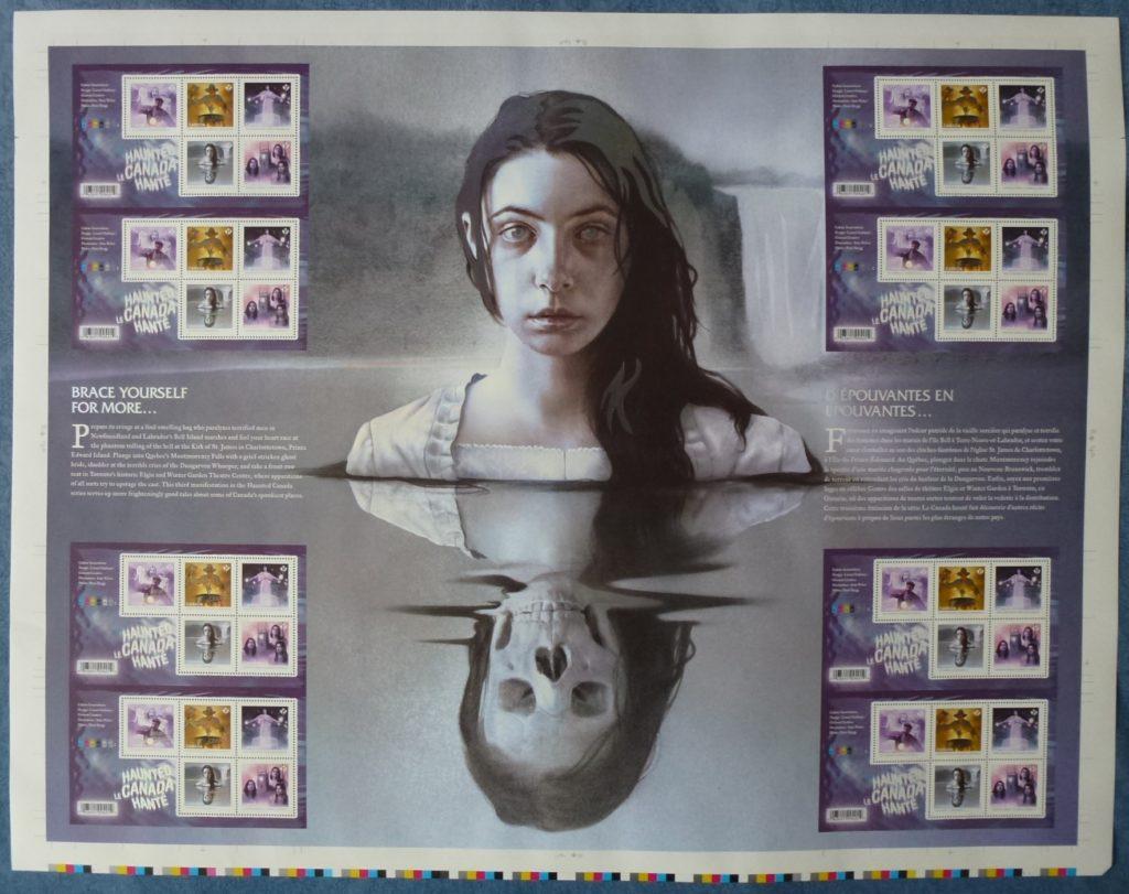 Planche non coupée émise par Postes Canada, le 8 septembre 2016. Elle reproduit un timbre faisant partie du troisième volet de la série «Le Canada hanté». Celui-ci présente une vision remarquablement originale de la Dame blanche, imaginée par l'illustrateur Sam Weber.