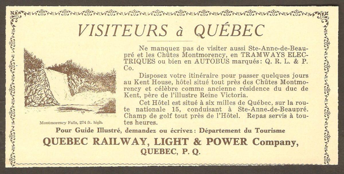 Publicité de la Quebec Railway Light & Power.