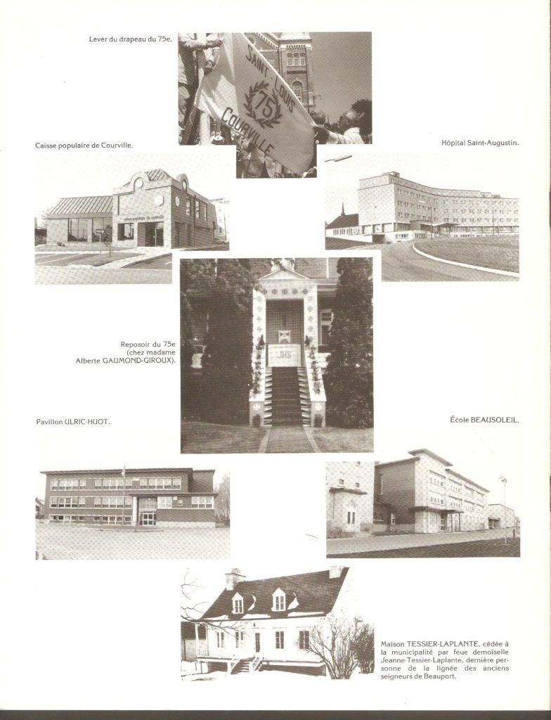 Endos d'une brochure publiée en 1985, afin de célébrer le 75e anniversaire de la paroisse Saint-Louis-de-Courville.