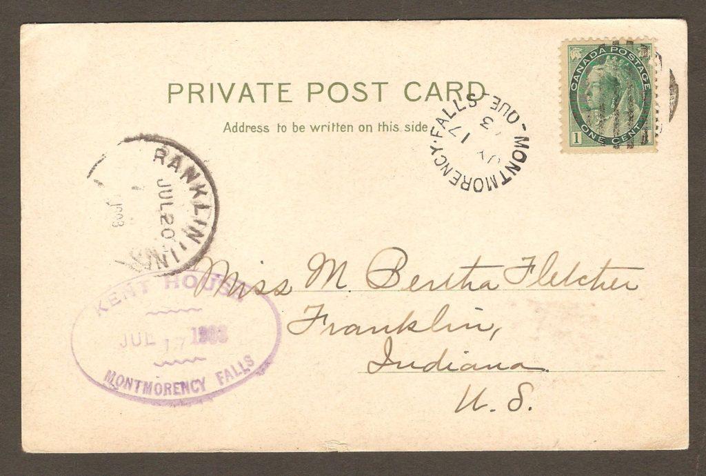 De la correspondance et chute Montmorency : carte postale à dos non divisé avec cachet postal Montmorency Falls daté du 16 août 1904.