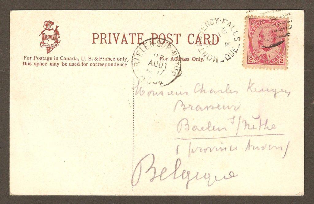 De la correspondance : endos de carte postale de la chute Montmorency avec cachet postal Montmorency Falls, daté du 17 juillet 1903.