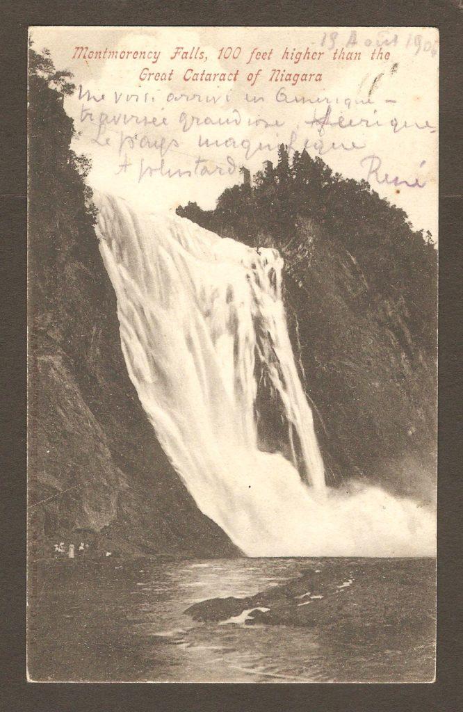 De la correspondance : carte postale de la chute Montmorency avec cachet postal Montmorency Falls, daté du 17 juillet 1903.