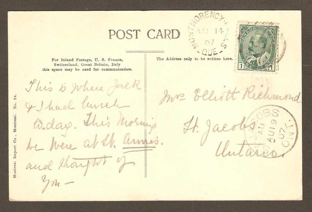 De la correspondance et chute Montmorency : carte postale avec cachet postaul Montmorency Falls datée respectivement du 14 août 1907.
