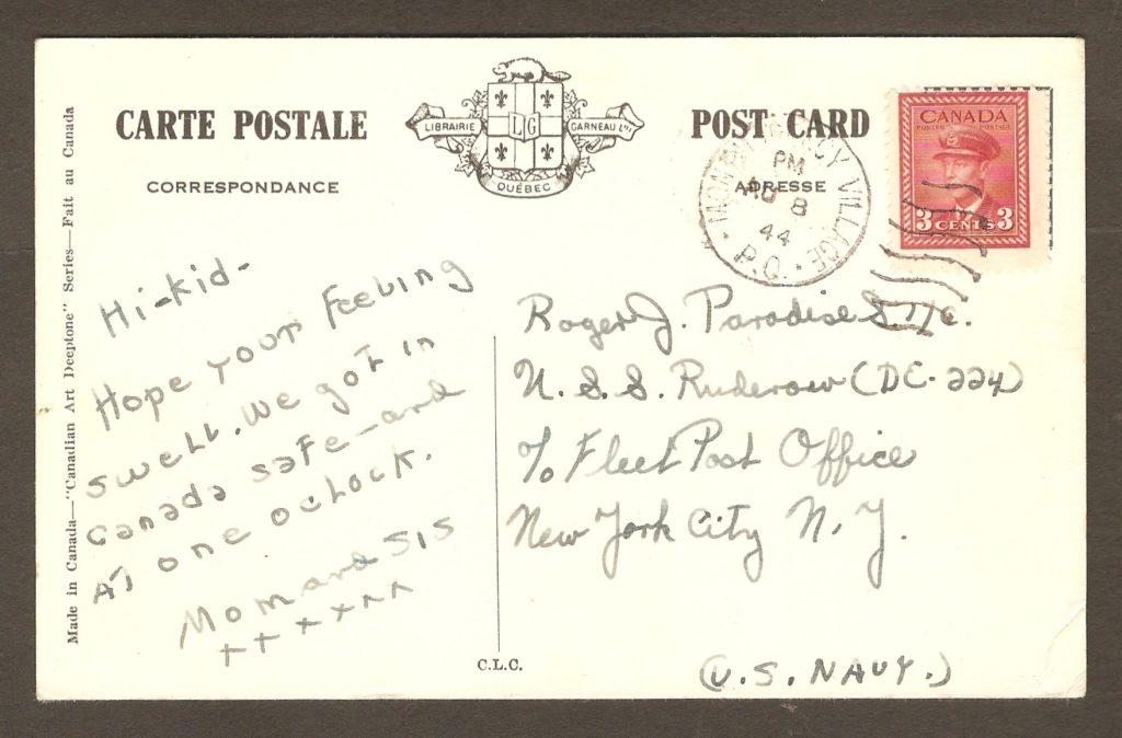 De la correspondance et chute Montmorency : carte postale avec un cachet de Montmorency Village datée du 8 août 1944. Elle a été adressée à un marin américain servant à bord du U.S.S. Rudenow. C'était au cours de la Seconde Guerre mondiale.