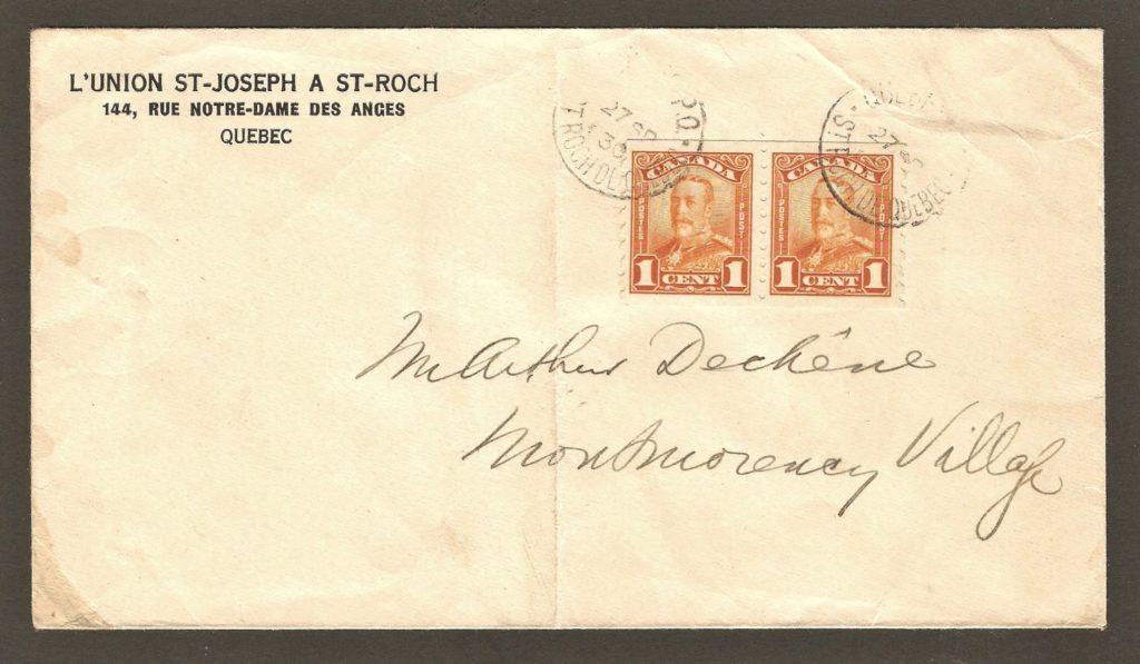 De la correspondance et chute Montmorency : lettre adressée à M. Arthur Déchêne, à Montmorency Village, expédiée le 27 septembre 1930 par L'Union St-Joseph à St-Roch de Québec. Le cachet de réception, au verso, indique qu'elle est arrivée à destination le jour même.