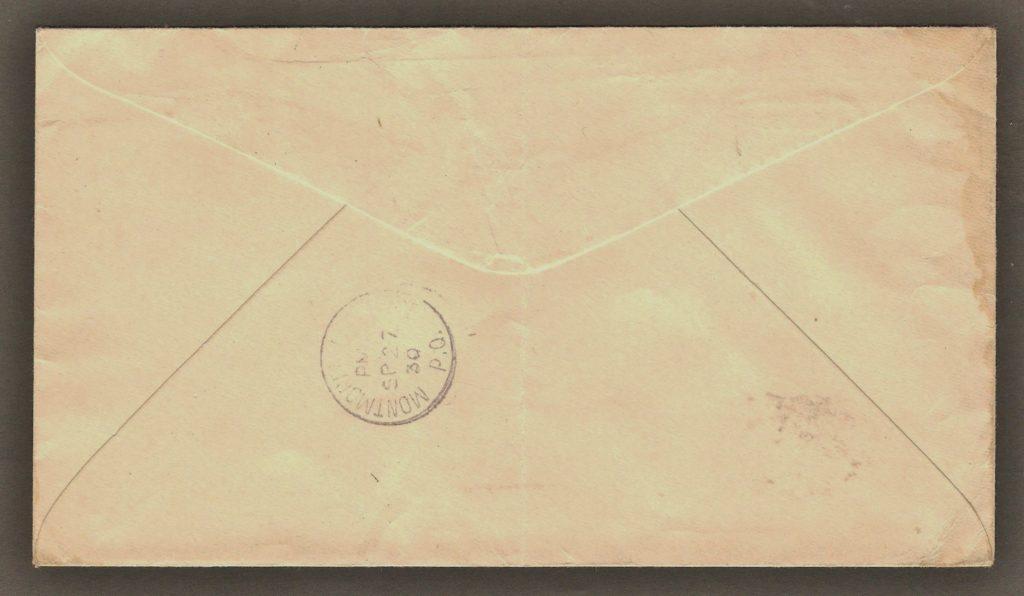 De la correspondance et chute Montmorency : endos d'une lettre adressée à M. Arthur Déchêne, à Montmorency Village, expédiée le 27 septembre 1930 par L'Union St-Joseph à St-Roch de Québec. Le cachet de réception, au verso, indique qu'elle est arrivée à destination le jour même.