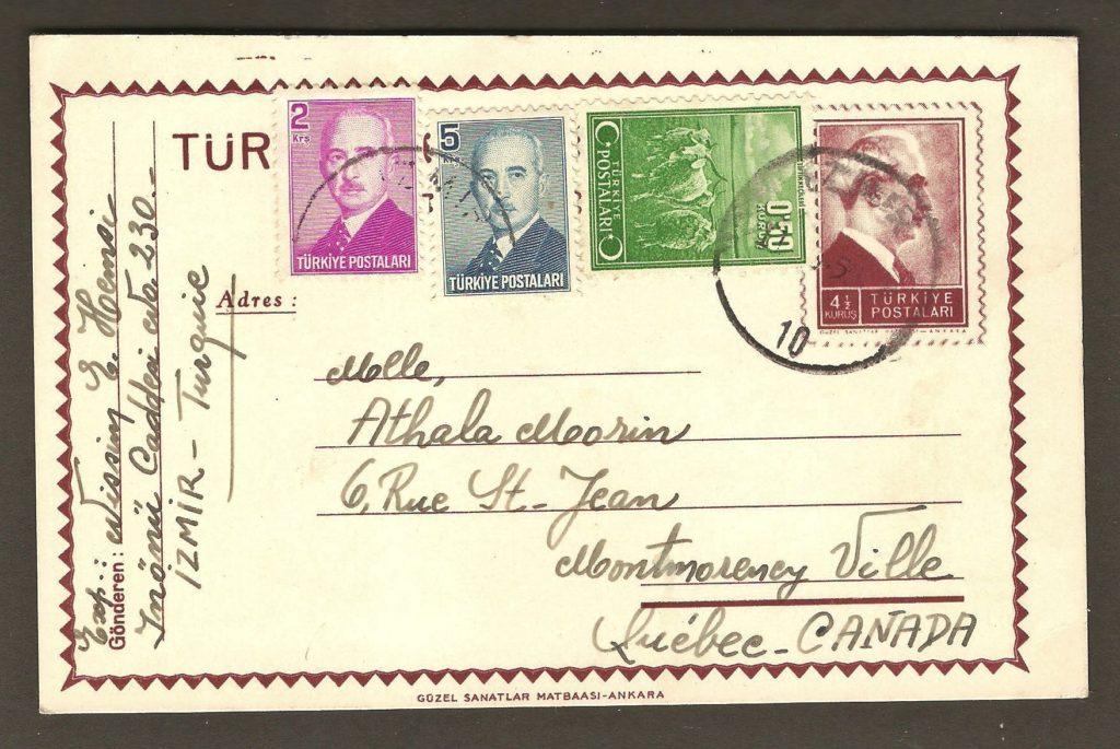 De la correspondance et chute Montmorency : carte postale, expédiée d'Izmir, en Turquie, en 1950, pour Mlle Athala Morin, de la rue Saint-Jean, à Montmorency Ville. La date du cachet d'expédition est illisible et c'est le message au verso qui témoigne de la date.