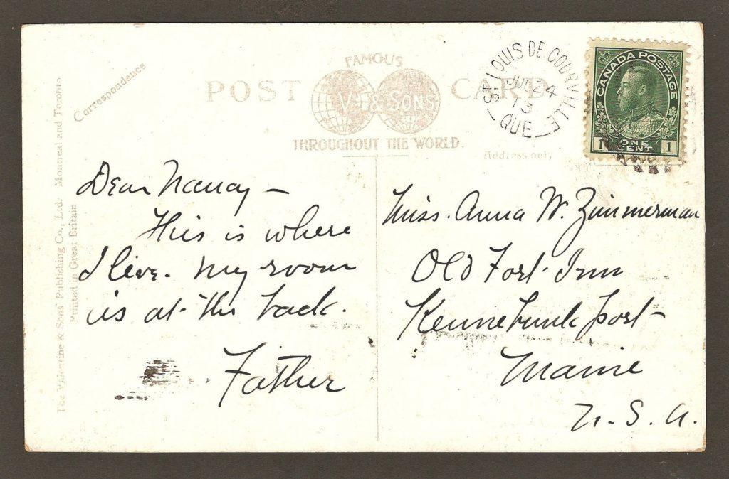 De la correspondance et chute Montmorency : carte postale colorée montrant l'hôtel Kent House et de nombreux visiteurs. Elle porte un cachet postal très net de Saint-Louis-de-Courville, daté du 24 juillet 1913.