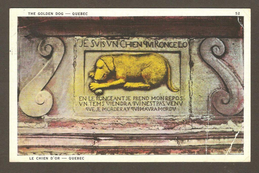 De la correspondanve : carte postale portant le cachet postal de Saint-Louis-de-Courville. La date du cachet, qui n'est que partiellement lisible, indique 1932. L'illustration montre la plaque associée à la légende du Chien d'Or qui figure en façade du bureau de poste de Québec, sur la rue du Fort.