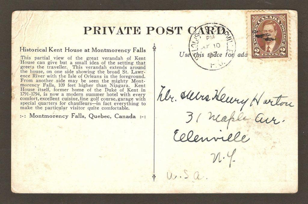 De la correspondance : carte postale portant le cachet postal de Saint-Louis-de-Courville daté du 10 septembre 1937. Sur l'illustration, on voit un couple assis sur la véranda en façade de l'hôtel Kent House.