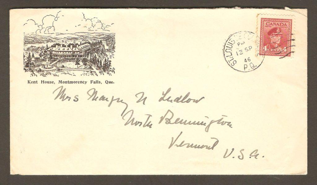 De la correspondance, chute Montmorency. Enveloppe de papeterie illustrée d'une vue aérienne de l'hôtel Kent House avec cachet postal de Saint-Louis-de-Courville daté du 13 septembre 1946.