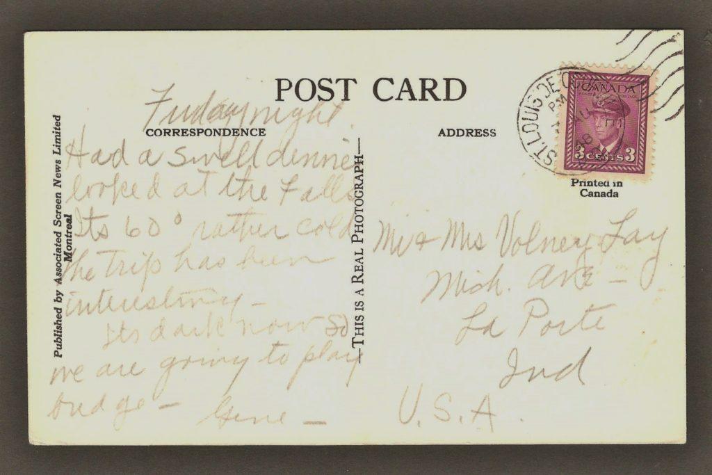 De la correspondance chute Montmorency. Carte postale avec un cachet d'oblitération très net de Saint-Louis-de-Courville portant la date 3 août 1948.