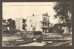 Résidence et cour à bois de M. P.N. Mathieu dans un album de cartes postales présentant diverses scènes du village de Montmorency, publié en 1929 pa E. Alexandre Masselotte.