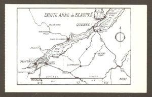 Carte postale en anglais, éditée par Natural Color Co., Inc., de Boston. Datant vraisemblablement des années 1940 ou 1950, elle est illustrée d'une carte géographique montrant les routes menant à Sainte-Anne-de-Beaupré à partie des états de New-York, du Vermont et du Maine. Elle a ceci de particulier que la ville de Montmorency y est située sur l'île d'Orléans.