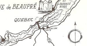 Détail d'une carte postale en anglais, éditée par Natural Color Co., Inc., de Boston. Datant vraisemblablement des années 1940 ou 1950, elle est illustrée d'une carte géographique montrant les routes menant à Sainte-Anne-de-Beaupré à partie des états de New-York, du Vermont et du Maine. Elle a ceci de particulier que la ville de Montmorency y est située sur l'île d'Orléans.
