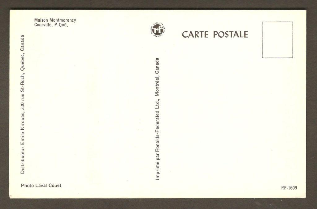 Endos de la carte postale : La Maison Montmorency à Courville, vers 1965.