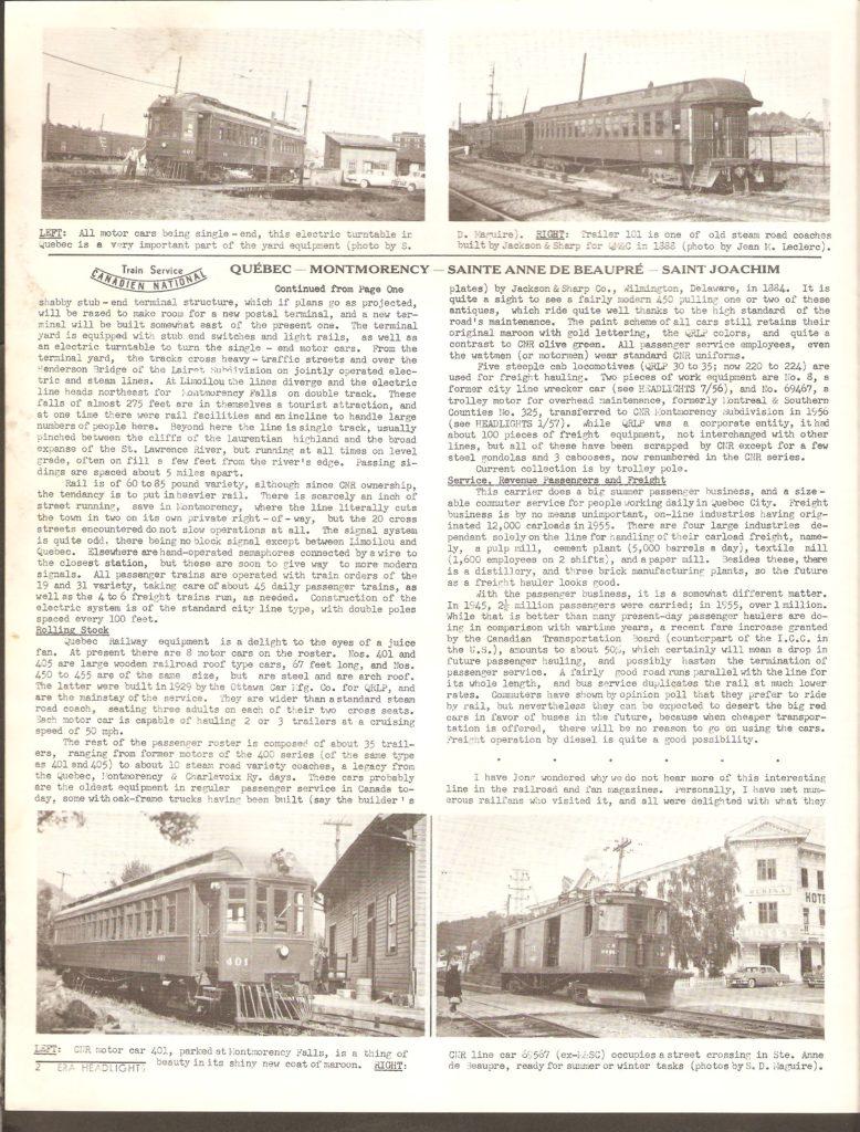 Le bulletin mensuel de la Railroader's Association, de New York, publiait dans son numéro de mars 1958, un article de Jean M. Leclerc intitulé «By Interurban to Ste. Anne de Beaupre». C'était l'article vedette du numéro, qui occupait deux et tiers de ses huit pages. L'histoire du service de tramway sur la côte de Beaupré y était brièvement résumée.