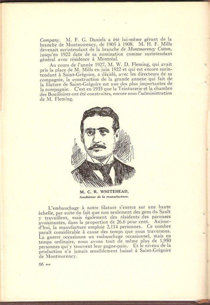 La Montmorency Cotton. Cette page présente un portrait de M. C.R. Whitehead, le fondateur de la filature ainsi que diverses informations sur l'entreprise.