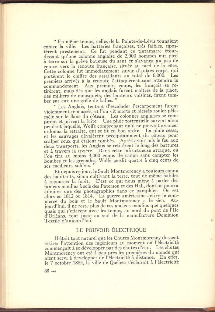 On trouve, dans cette page, la suite de la description de la bataille de Montmorency ainsi que le début de la section sur le «pouvoir électrique», c'est-à-dire la centrale électrique de la Quebec Power.