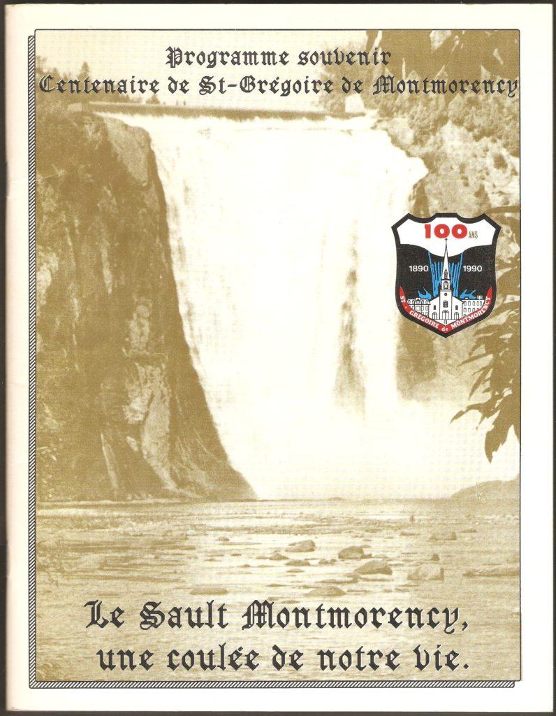 La couverture du programme souvenir du Centenaire de ville Montmorency, avec une photo de la chute ainsi qu'un blason du centenaire.