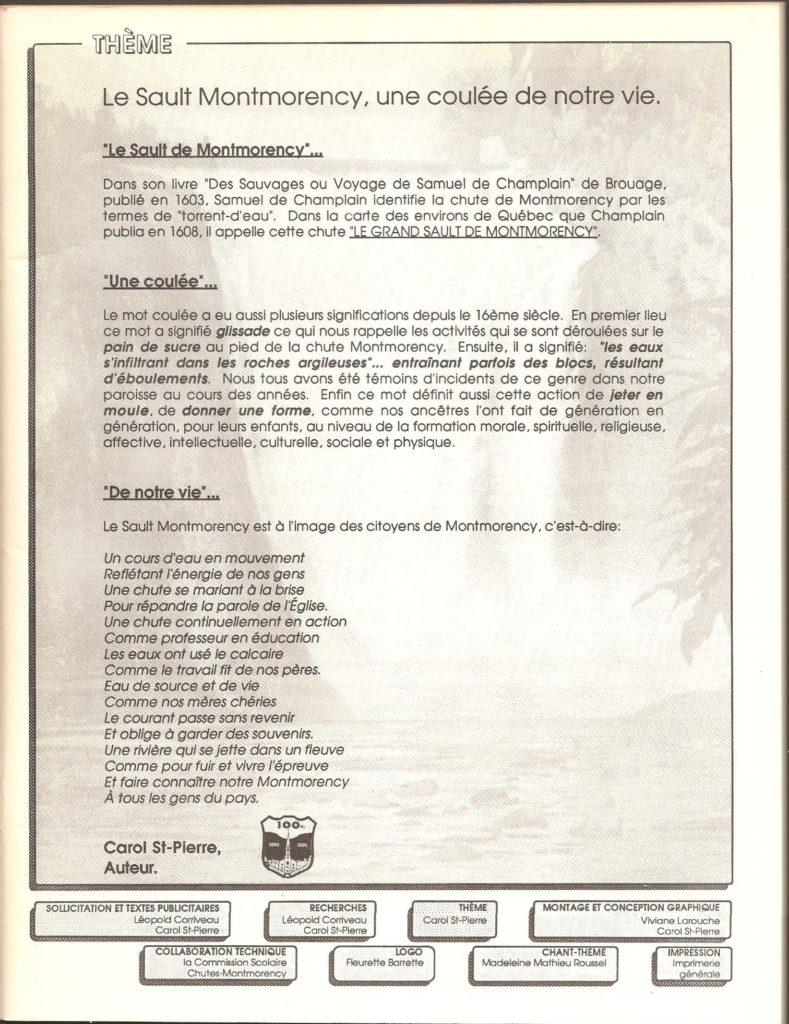 La couverture du programme souvenir du Centenaire de ville Montmorency, avec une photo de la chute ainsi qu'un blason du centenaire. Page thème. On y trouve une présentation, de même que le nom de l'auteur (M. Carol Saint-Pierre) et des collaboratrices et collaborateurs.
