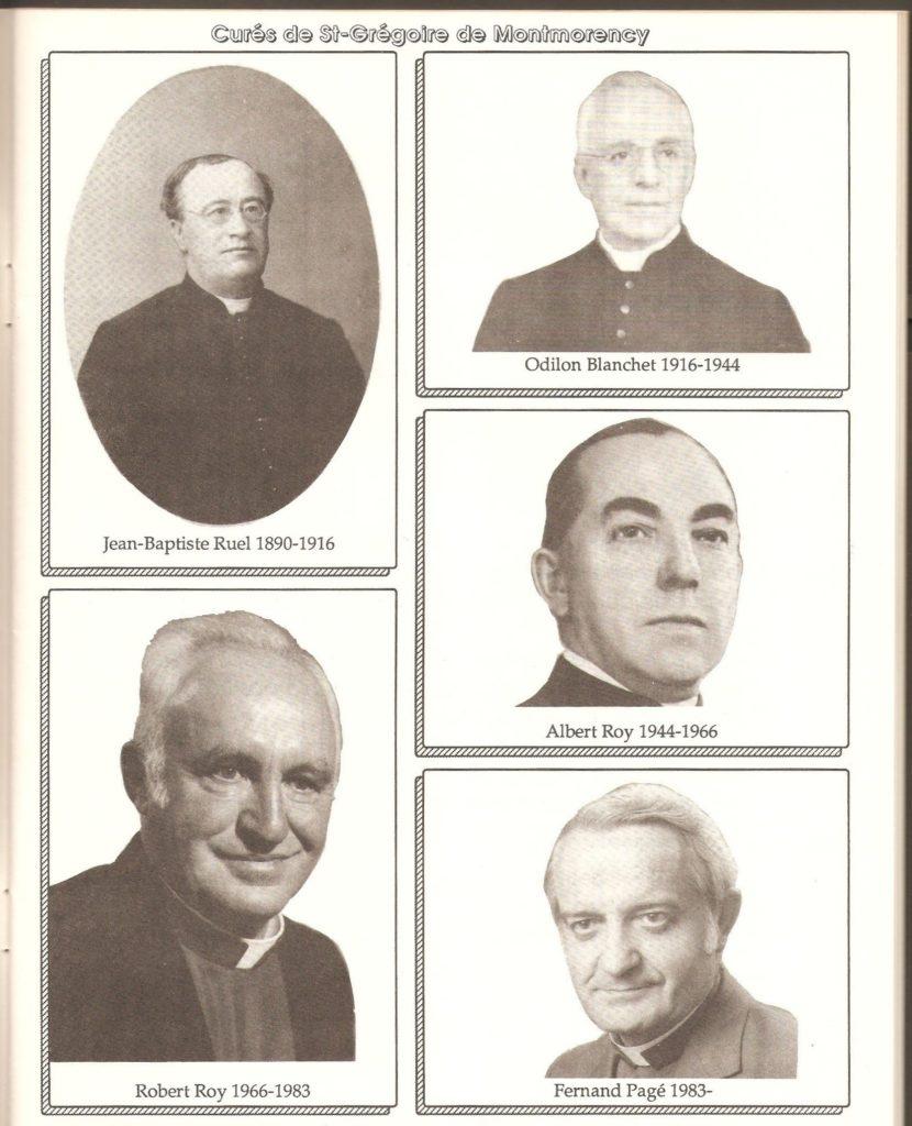 Les curés de Montmorency, de 1890 à 1990. On y voit notamment les portraits du premier curé, Mgr Jean-Baptiste Rel, ainsi que de son successeur, Mgr Odilon Blanchet. Celui-ci est demeuré en poste pendant près de trente ans!