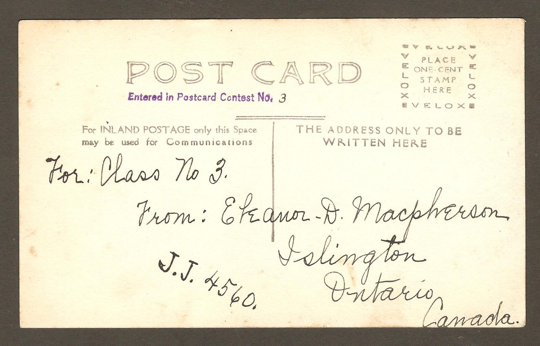 Endos de carte postale : ours polaire au zoo Holt Renfrew, sur le site de la chute Montmorency. Mme Eleanor D. Macpherson, de Islington, Ontario, l'a présentée à un concours de cartes postales .
