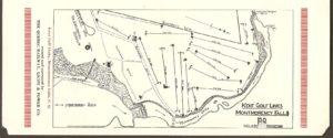 Chute Montmorency : une page d'un dépliant publicitaire de quatre pages publié par la Quebec Railway Light & Power Co aux débuts des années 1920. On peut voir le parcours du club de golf Kent (Kent Golf Links).